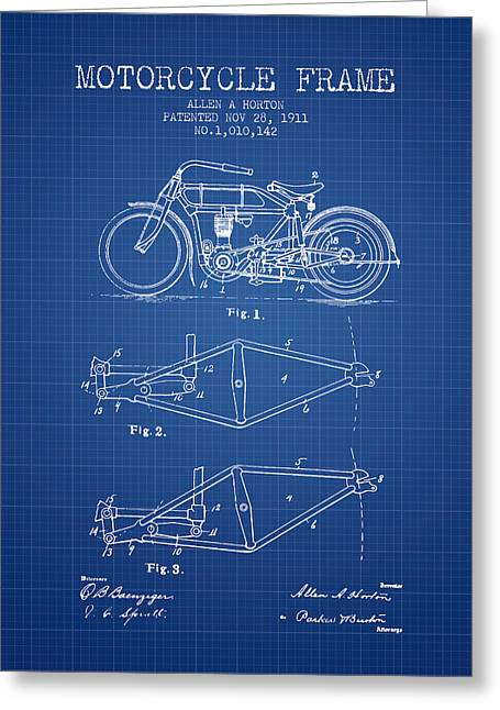 Motorbikes Greeting Cards - 1911 Motorcycle Frame Patent - blueprint Greeting Card by Aged Pixel