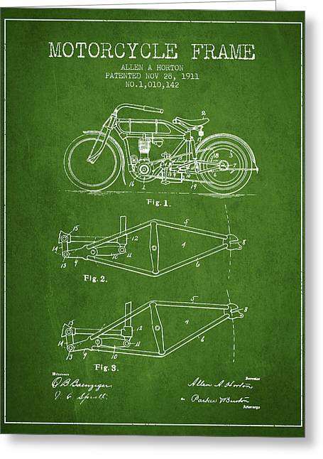 Motorbikes Greeting Cards - 1911 Motorcycle Frame Patent - green Greeting Card by Aged Pixel