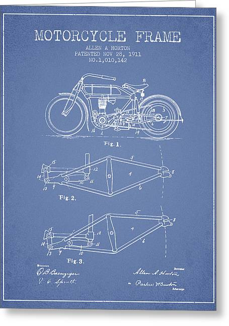Motorbikes Greeting Cards - 1911 Motorcycle Frame Patent - light blue Greeting Card by Aged Pixel