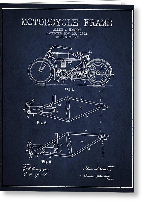 Motorbikes Greeting Cards - 1911 Motorcycle Frame Patent - navy blue Greeting Card by Aged Pixel