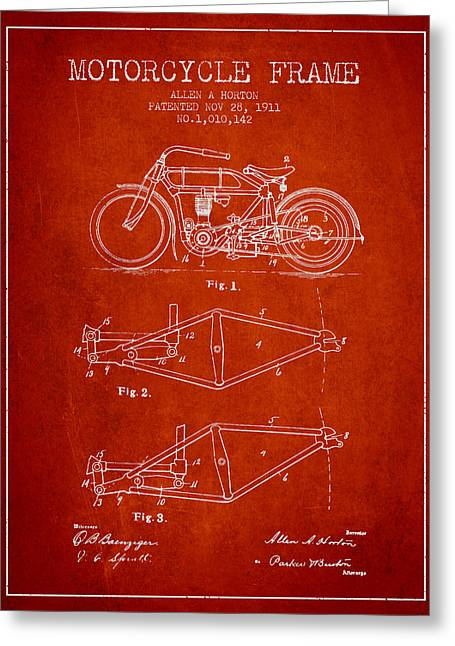 Motorbikes Greeting Cards - 1911 Motorcycle Frame Patent - red Greeting Card by Aged Pixel