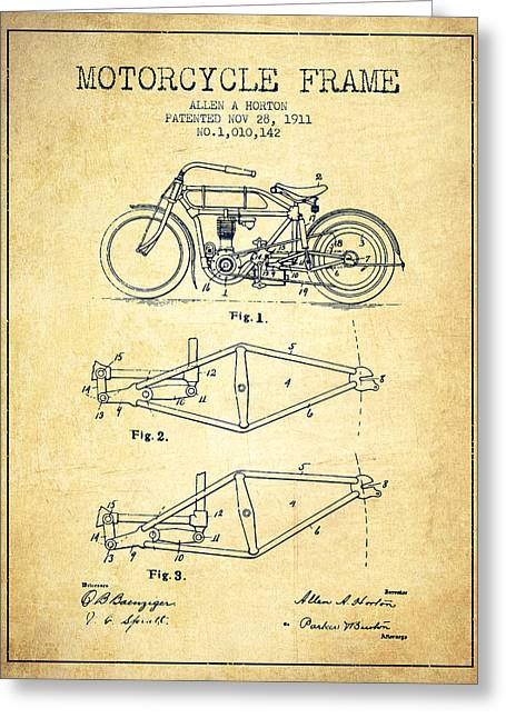 Motorbikes Greeting Cards - 1911 Motorcycle Frame Patent - vintage Greeting Card by Aged Pixel