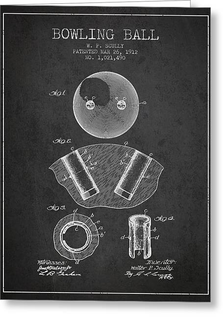 Boule Greeting Cards - 1912 Bowling Ball Patent - charcoal Greeting Card by Aged Pixel
