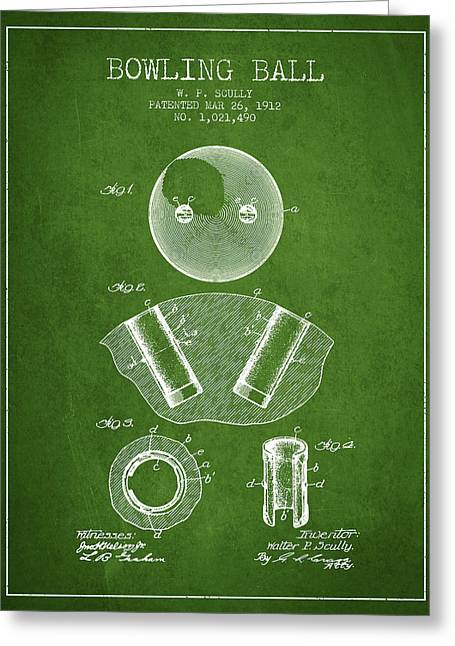 Boule Greeting Cards - 1912 Bowling Ball Patent - Green Greeting Card by Aged Pixel
