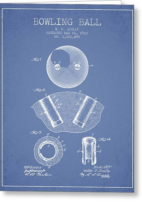 Boule Greeting Cards - 1912 Bowling Ball Patent - Light Blue Greeting Card by Aged Pixel
