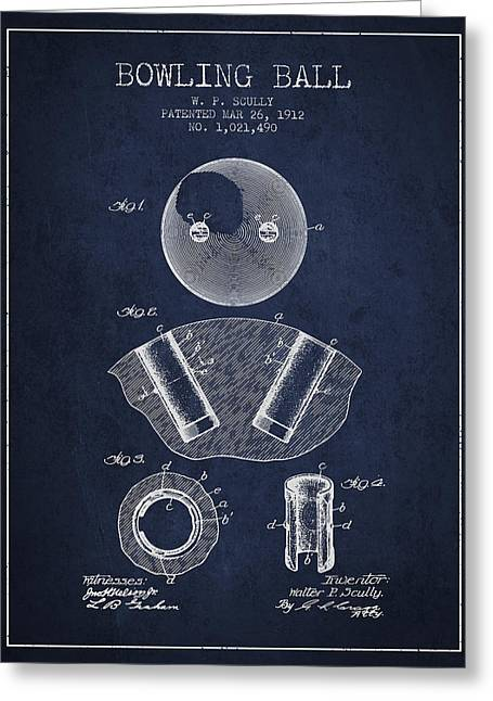 Boule Greeting Cards - 1912 Bowling Ball Patent - Navy Blue Greeting Card by Aged Pixel