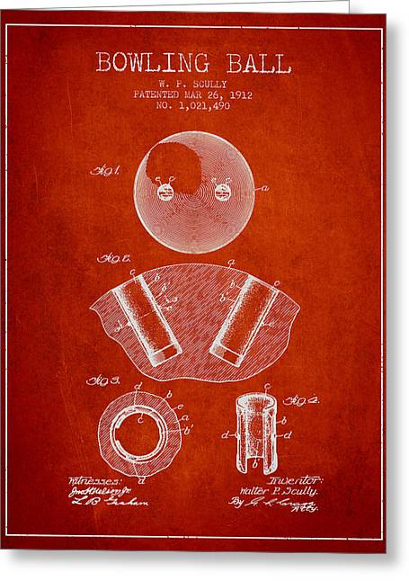 Boule Greeting Cards - 1912 Bowling Ball Patent - Red Greeting Card by Aged Pixel