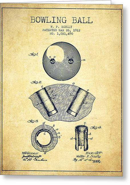 Boule Greeting Cards - 1912 Bowling Ball Patent - Vintage Greeting Card by Aged Pixel