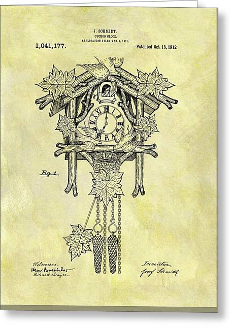 1912 Cuckoo Clock Patent Greeting Card by Dan Sproul