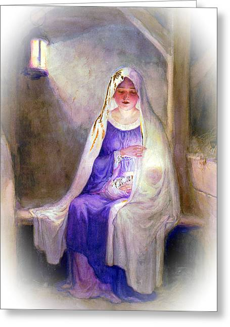 1912 Mary And Baby Jesus Greeting Card by Munir Alawi