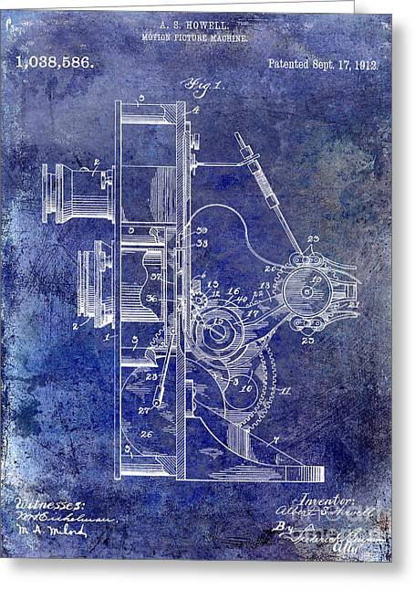 Movies Photographs Greeting Cards - 1912 Motion Picture Machine Patent Blue Greeting Card by Jon Neidert