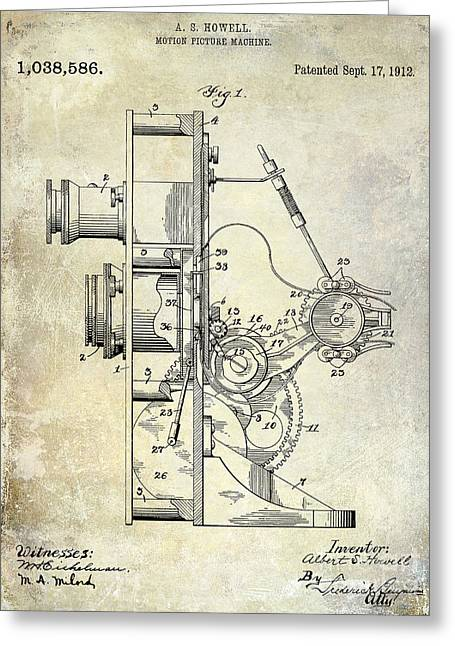 Movies Photographs Greeting Cards - 1912 Motion Picture Machine Patent Greeting Card by Jon Neidert