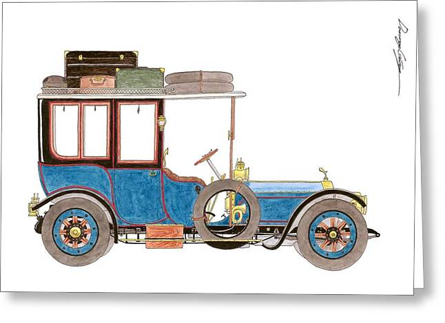 First-lady Greeting Cards - 1912 Rolls Royce Silver Ghost Hooper limousine Greeting Card by Domingo Gorriz