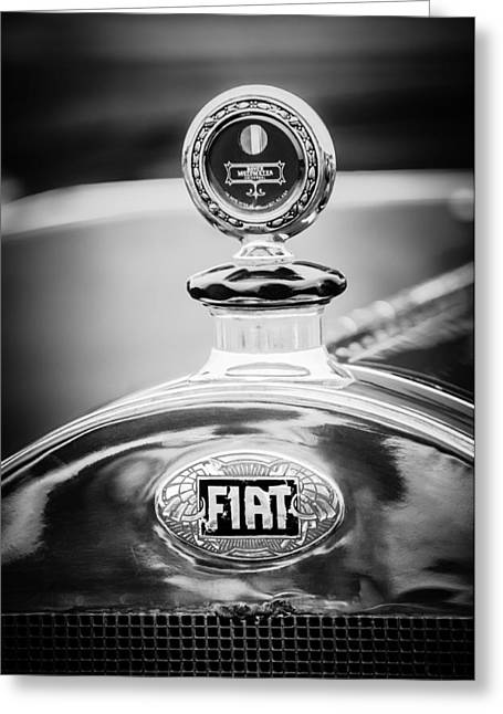 1913 Greeting Cards - 1913 Fiat Type 56 7 Passenger Touring Hood Ornament -1999bw Greeting Card by Jill Reger