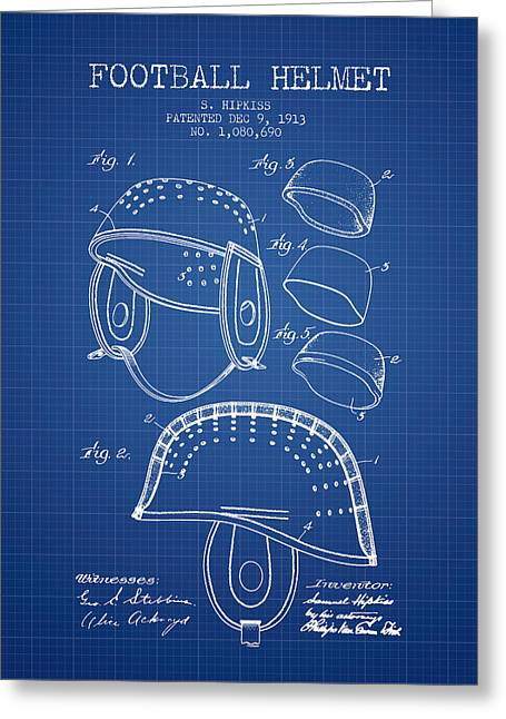 Football Helmets Greeting Cards - 1913 Football Helmet Patent - Blueprint Greeting Card by Aged Pixel