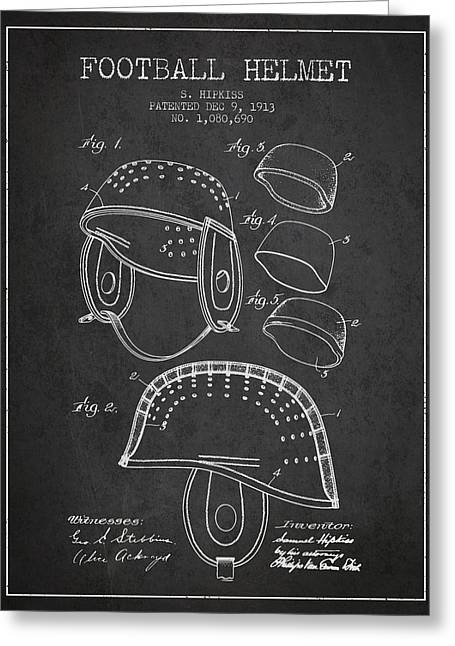 Helmet Drawings Greeting Cards - 1913 Football Helmet Patent - Charcoal Greeting Card by Aged Pixel