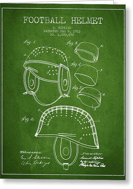 Helmet Drawings Greeting Cards - 1913 Football Helmet Patent - Green Greeting Card by Aged Pixel