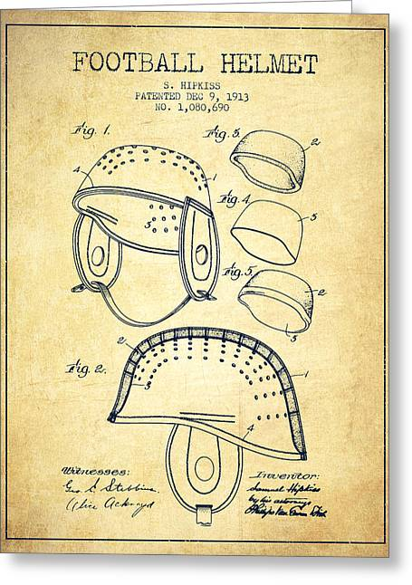 Helmet Drawings Greeting Cards - 1913 Football Helmet Patent - Vintage Greeting Card by Aged Pixel
