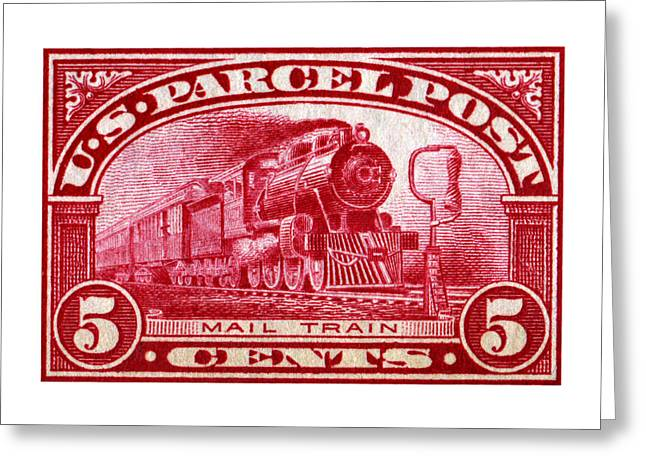 Classic American Railroad Greeting Cards - 1913 Mail Train Stamp Greeting Card by Historic Image