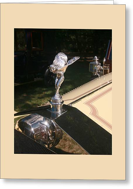 1913 Rolls Royce 40-50 H P Silver Ghost Hood Ornament Greeting Card by Allen Beatty