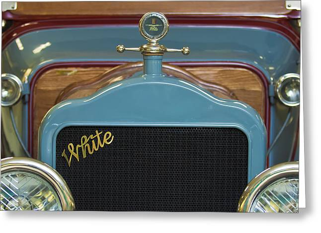 Motor Meter Greeting Cards - 1913 White Gentlemanss Roadster Grille Greeting Card by Jill Reger