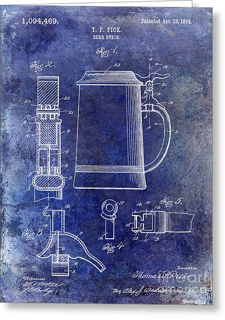 Stein Greeting Cards - 1914 Beer Stein Patent Blue Greeting Card by Jon Neidert
