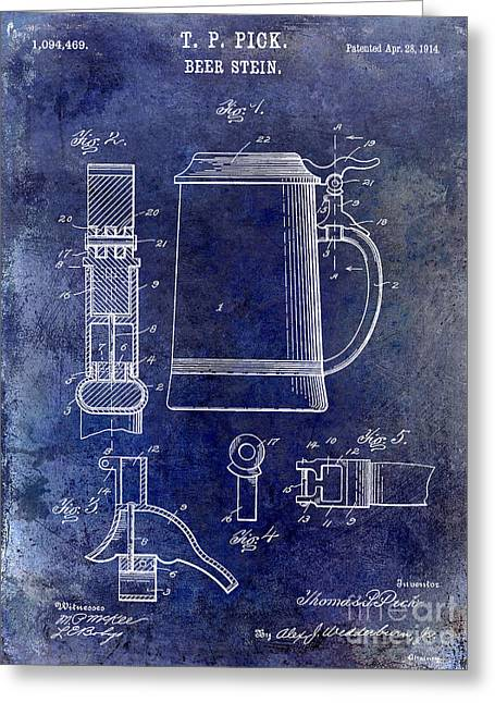 Stein Greeting Cards - 1914 Beer Stein Patent Greeting Card by Jon Neidert