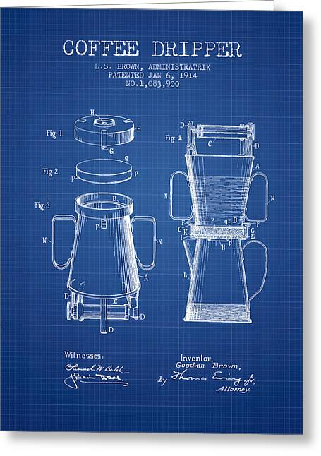 Coffee Maker Greeting Cards - 1914 Coffee Dripper patent - blueprint Greeting Card by Aged Pixel