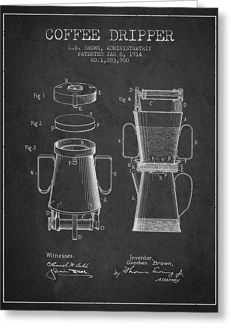 Coffee Maker Greeting Cards - 1914 Coffee Dripper patent - Charcoal Greeting Card by Aged Pixel