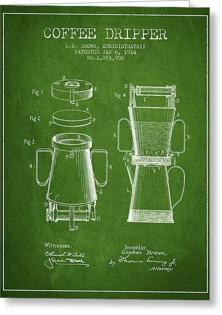 Pot Drawings Greeting Cards - 1914 Coffee Dripper patent - green Greeting Card by Aged Pixel