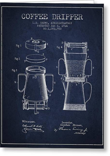 Technical Drawings Greeting Cards - 1914 Coffee Dripper patent - Navy Blue Greeting Card by Aged Pixel