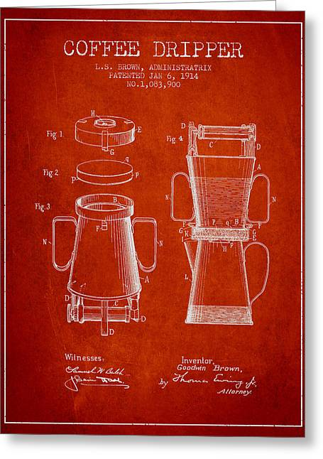 Technical Drawings Greeting Cards - 1914 Coffee Dripper patent - Red Greeting Card by Aged Pixel