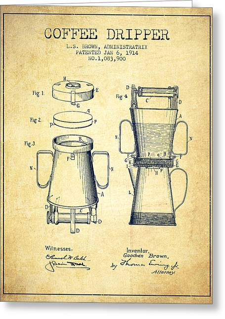 Coffee Maker Greeting Cards - 1914 Coffee Dripper patent - vintage Greeting Card by Aged Pixel