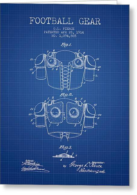 National Drawings Greeting Cards - 1914 Football Gear Patent - Blueprint Greeting Card by Aged Pixel