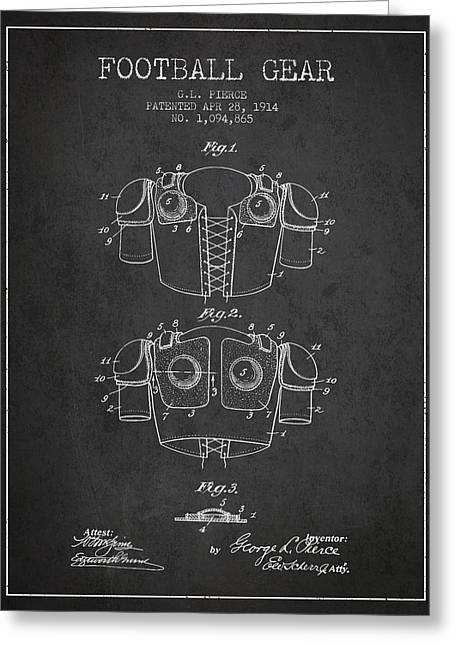 Football Drawings Greeting Cards - 1914 Football Gear Patent - Charcoal Greeting Card by Aged Pixel