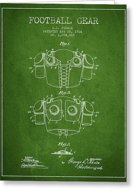 National Drawings Greeting Cards - 1914 Football Gear Patent - Green Greeting Card by Aged Pixel