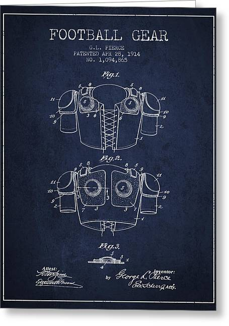 National Drawings Greeting Cards - 1914 Football Gear Patent - Navy Blue Greeting Card by Aged Pixel