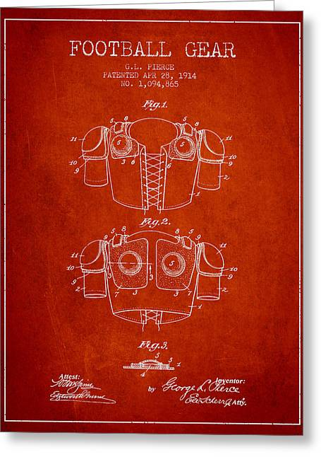 American Football Art Drawings Greeting Cards - 1914 Football Gear Patent - Red Greeting Card by Aged Pixel