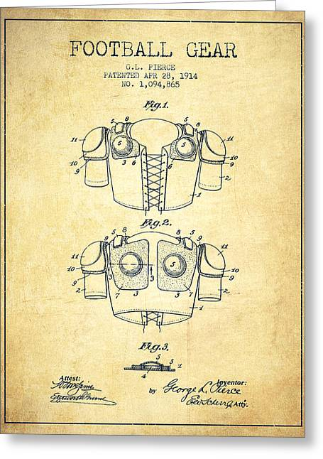 American Football Art Drawings Greeting Cards - 1914 Football Gear Patent - Vintage Greeting Card by Aged Pixel
