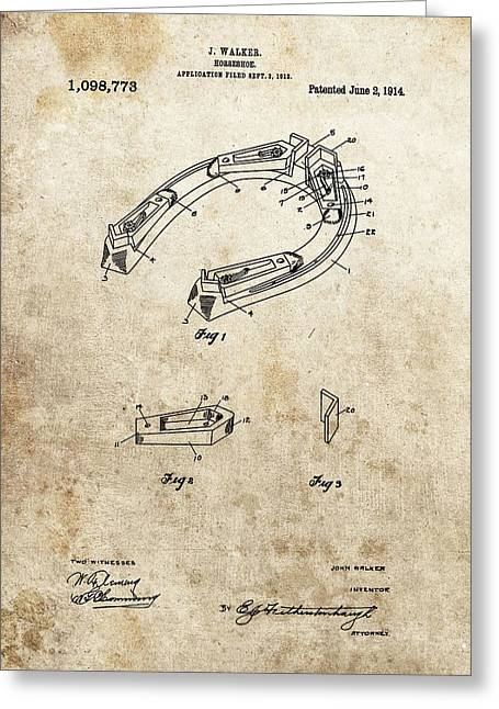 Farrier Greeting Cards - 1914 Horseshoe Patent Greeting Card by Dan Sproul