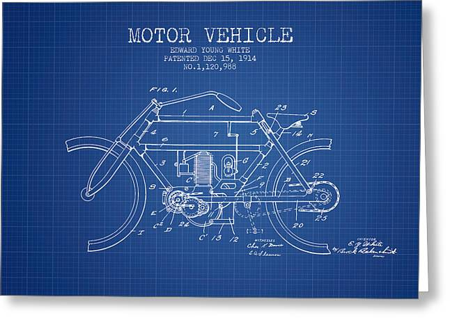 Motorcycles Drawings Greeting Cards - 1914 Motor Vehicle Patent - blueprint Greeting Card by Aged Pixel