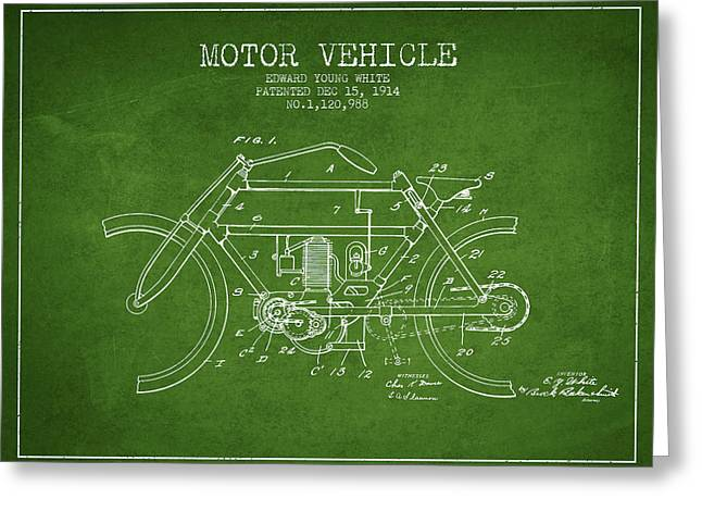 Motorcycles Drawings Greeting Cards - 1914 Motor Vehicle Patent - green Greeting Card by Aged Pixel