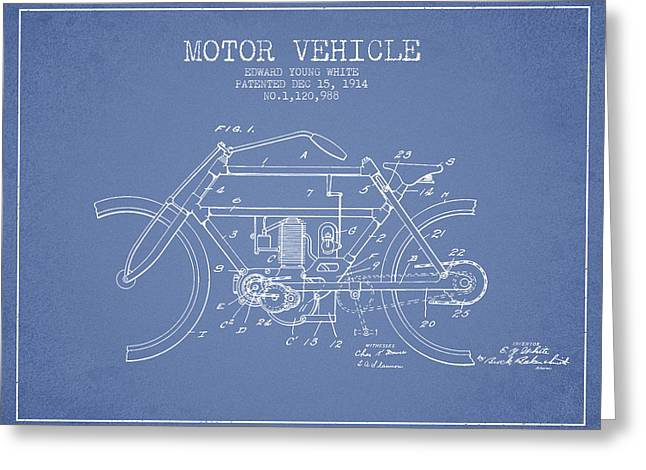 Motorcycles Drawings Greeting Cards - 1914 Motor Vehicle Patent - light blue Greeting Card by Aged Pixel