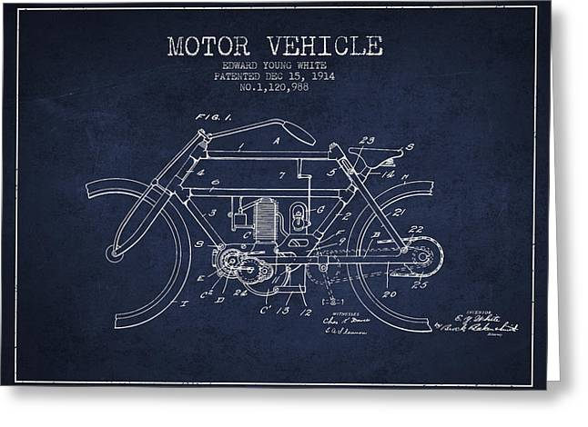 Motorcycles Drawings Greeting Cards - 1914 Motor Vehicle Patent - navy blue Greeting Card by Aged Pixel