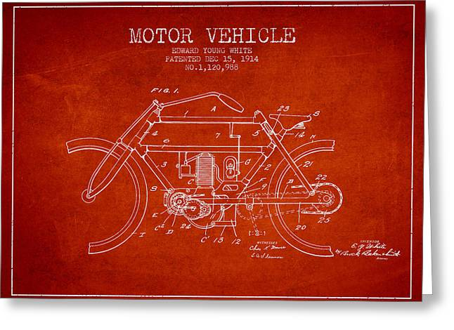 Motorcycles Drawings Greeting Cards - 1914 Motor Vehicle Patent - red Greeting Card by Aged Pixel