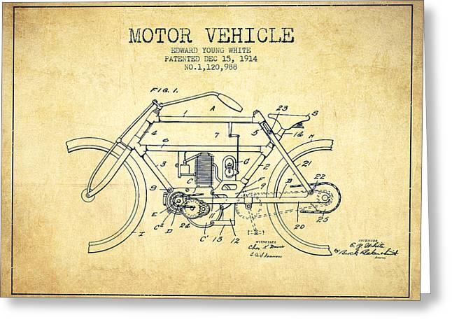 Technical Drawings Greeting Cards - 1914 Motor Vehicle Patent - vintage Greeting Card by Aged Pixel