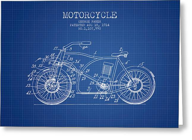 Motorcycles Drawings Greeting Cards - 1914 Motorcycle Patent - Blueprint Greeting Card by Aged Pixel