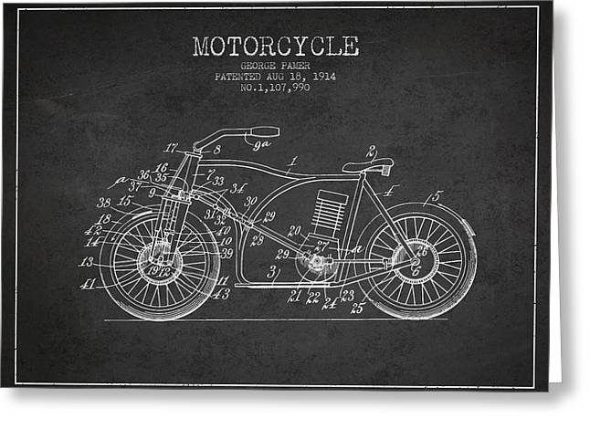 Motorcycles Drawings Greeting Cards - 1914 Motorcycle Patent - charcoal Greeting Card by Aged Pixel