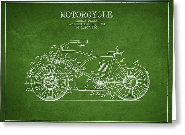 Technical Drawings Greeting Cards - 1914 Motorcycle Patent - Green Greeting Card by Aged Pixel