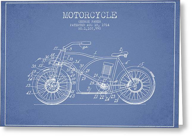 Motorcycles Drawings Greeting Cards - 1914 Motorcycle Patent - Light Blue Greeting Card by Aged Pixel